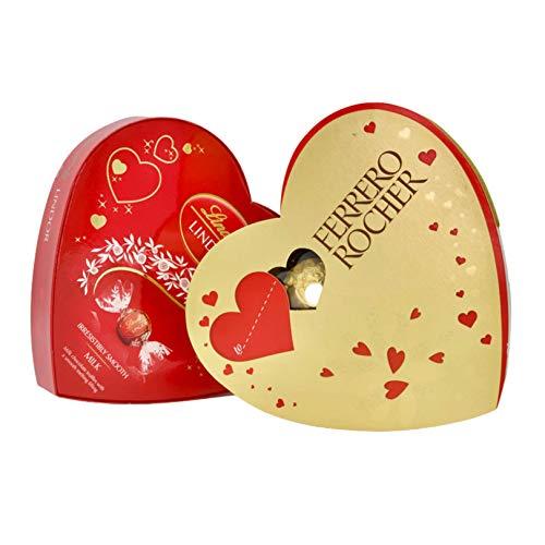 Regalo per San Valentino al cioccolato per lui o per lei - Lindt and Ferrero Rocher scatola a forma di cuore cioccolato per San Valentino, festa della mamma, amanti