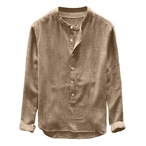 Aiserkly Mode Herren Herbst Winter Button Casual Leinen und Baumwolle Langarm Top Bluse Khaki XL