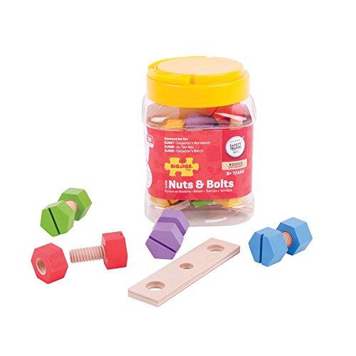 Bigjigs Toys Glas mit Schrauben und Muttern