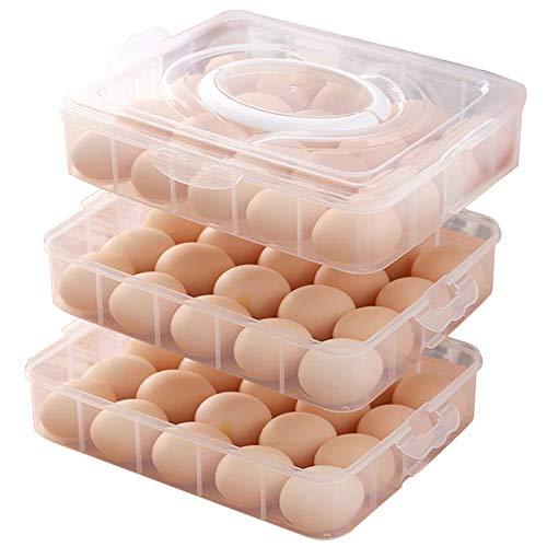 Soporte para huevos de diablo portátil de 3 capas, con tapa y asa para 60 huevos