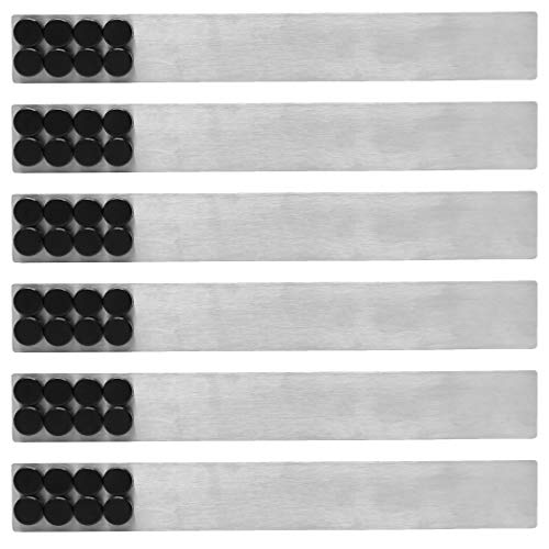 (6 Pieces) Steel Magnetic Strips with Adhesive Backing - 2 x 15' Magnetic Bulletin Board with 48 Magnets for Photos, Papers, and Office Memo