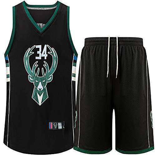 Ropa Deportiva para Estudiantes, Bucks No. 34 Antetokounmpo Bordado Camiseta de Baloncesto, Traje de Verano-Black-XL