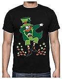 Green Turtle Camiseta para Hombre - St. Patrick's Day Dabbing Leprechaun - Divertido para Hombres en el Día de San Patricio X-Large Negro