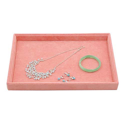 BEI&YANG Ohrringe Aufbewahrungsbox Rosa EIS Samt Schmuckständer Ohrringe Halskette Armband Anhänger Aufbewahrungsbox Schmuck Tablett@Leere Schüssel