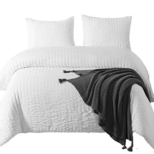 DuShow Duvet Cover Set King White Soft Seersucker Hotel Quality 3 PCS Comforter Cover Set With Zipper Closure