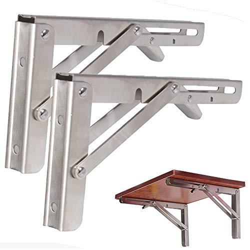 shelf support LDFZ Schwerlast Klapp Regal Bank Tisch Klappbügel, Wandhalterung Aus Rostfreiem Stahl, Platzsparende DIY-Halterung