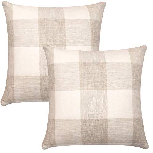 ORANIFUL Tartan Kissenbezüge 45x45 cm, Set von 2 Dekorativen Quadratischen Leinen Kissenbezug Dekorative für Sofa, Wohnzimmer, Couch, Schlafzimmer und Auto (Cremeweiß)