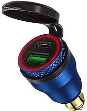 12V-24VヘラDINソケット/ BMWドゥカティトライアンフ用防水デュアルUSB充電器30W PD USB CおよびQC3.0クイック充電電源アダプタへのアルミニウムDINヘラパワーレットプラグの電力供給 (青)