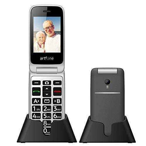 artfone Seniorenhandy, 3G Klapphandy 2,4 Zoll Flip Mobiltelefon Senioren-Handy Großtastenhandy ohne Vertrag mit großen Tasten Notruftaste Taschenlampe Kamera Dual SIM Rentner Handy für Ältere Menschen