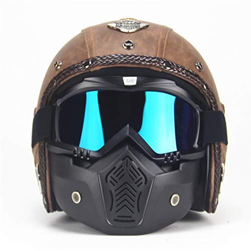 MRDEAR Jet-Helme Männer, Vintage Motorrad Roller-Helm Motorradhelm Retro Handgemachtes Braun PU-Leder Mofa-Helm Scooter-Helm Roller Chopper Vespa mit Visier Brille Maske,XL