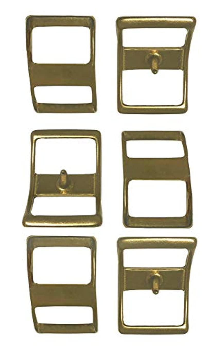 Multi-Pack of #210 Solid Brass Conway Buckles, Pack of 6, Rust-Free, Ideal for Use On Pack Saddles and Tack, Or Any Application That Requires Strap Length Adjustment (3/4