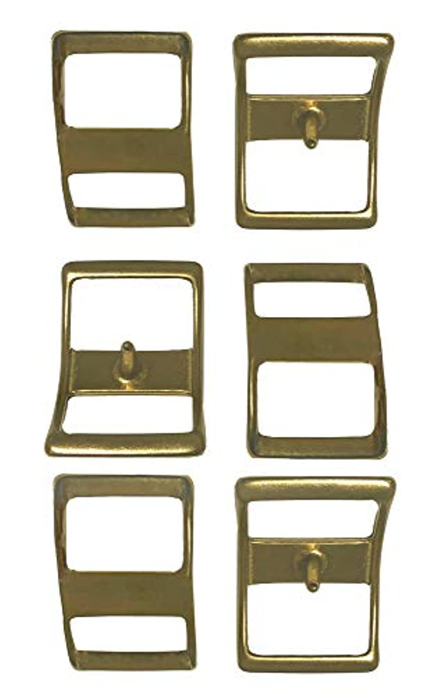 Multi-Pack of #210 Solid Brass Conway Buckles, Pack of 6, Rust-Free, Ideal for Use On Pack Saddles and Tack, Or Any Application That Requires Strap Length Adjustment (1
