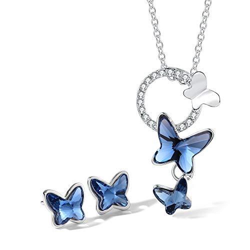 T400 Halskette und Ohrring Damen Schmetterling Anhänger mit Elements Kristall Schmucksets 42+5cm Kette