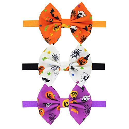 FAD Headdress 3st Baby Girls hoofdbanden Halloween Hair Bow Elastics Pumpkin Bowknot haarbanden hoofdwear voor Newborn Infant Toddlers Kids