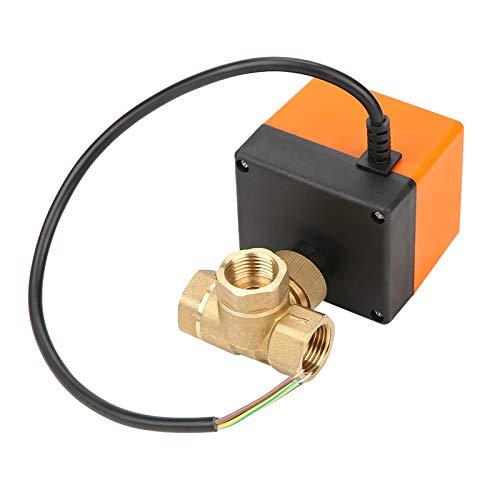 LANTRO JS - Válvula de bola motorizada de 3 vías, Válvula de bola motorizada DC 12V, G1/2 Válvula de bola de actuador motorizado de 3 vías de latón para aire acondicionado