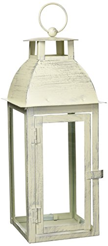 Home Garden Distressed Ivory Candleholder Lantern Stand
