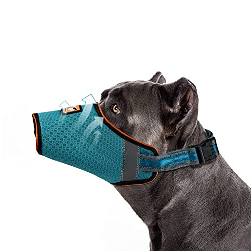 Jzxoiva Dog Muzzle Anti-Biting Barking Secure,Mesh Breathable Pets Muzzle, Anti Biting Barking and Chewing, Mouth Width 5.11 inches, Belt Length 7.48-9.84 inches