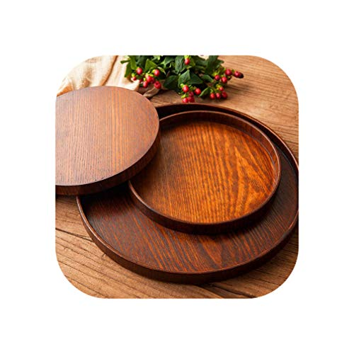 Round Natural Wood Serving Tray Wooden Plate Tea Food Server Dishes Water Drink Platter Food Bamboo Rectangular,27Cm