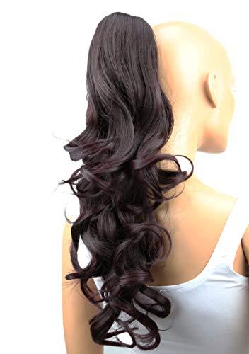 PRETTYSHOP 50cm Haarteil Zopf Pferdeschwanz Haarverlängerung Voluminös Gewellt Dunkelweinrot Mix H45