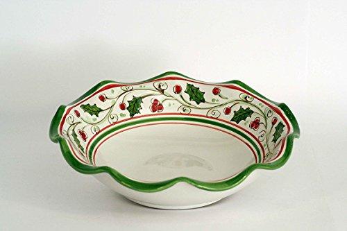 Centrotavola in ceramica decorata a mano, fruttiera smerlata in ceramica di Caltagirone