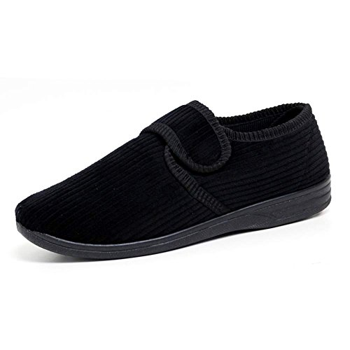 DIABETIC ORTHOPAEDIC MENS EASY CLOSE WIDE FITTING CUSHIONED WINTER WARM SHOES SLIPPERS SIZE ,10 UK ,Black