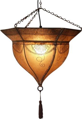 Guru-Shop Henna - Leder Deckenlampe/Deckenleuchte Mali, Weiß, Farbe: Weiß, 34x41x41 cm, Orientalische Deckenlampen