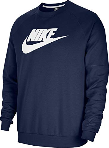 NIKE NSW Modern Crew Fleece Sudadera, Midnight Navy/White, L para Hombre
