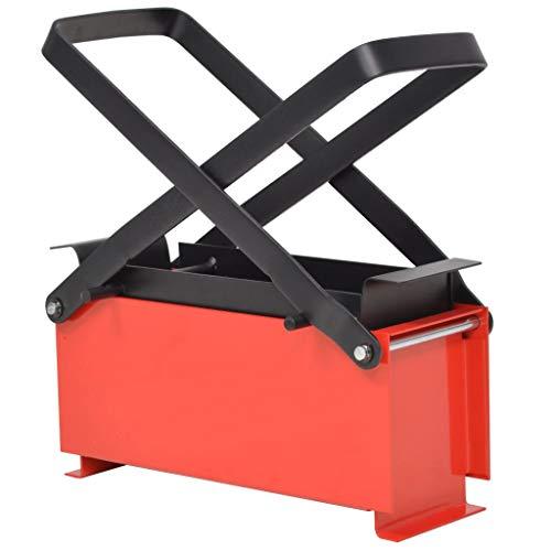 Festnight Papierbrikettpresse Stahl Brikettpresse Papierpresse Platzsparend 34 x 14 x 14 cm Schwarz und Rot
