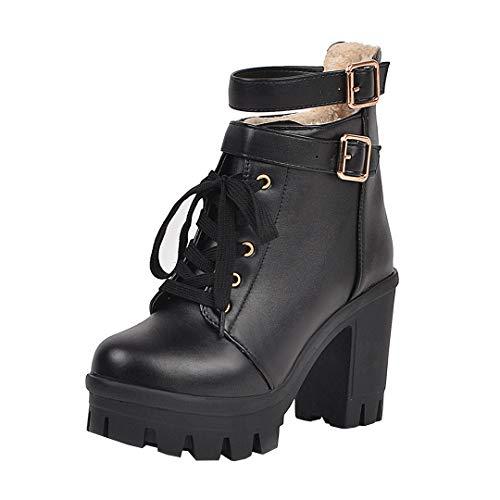 Dearney Damen High Heels Plateau Stiefeletten Blockabsatz Ankle Boots mit Schnürung Schnallen Gothic Damenschuhe 10cm Absatz Reißverschluss hinten