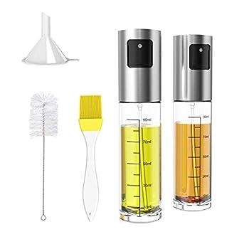 Oil Sprayer 2 Pack Xpatee Olive Oil Sprayer Mister with Brush Funnel 100ml Transparent Vinegar Bottle Oil Dispenser for BBQ Making Salad Baking Frying Chicken