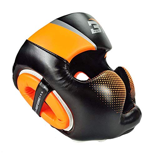 ASOSMOS Neu Damen Boxen Kopfschmuck Sporthalle Ausrüstung Grant Boxen Helm Kopf Schutz für MMA Muay Thai TKD Training - Orange