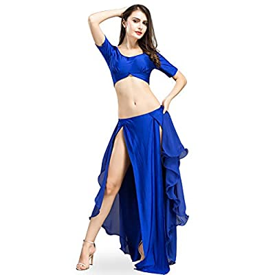 ROYAL SMEELA Belly Dance Costume Set for Women Belly Dancing Tops and Chiffon Skirt Dance Dresses, One Size, 6 Colors