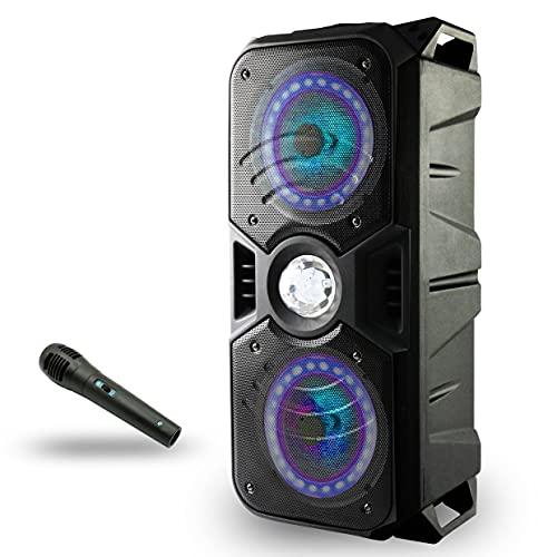 Lauson LLX33 Altavoz Bluetooth Portatil con Efecto de Luces Multicolores LED | Bluetooth Speaker con Lector USB MP3 | Altavoz Karaoke con Radio Integrada, Bateria 12 h Carga Incluye Micrófono