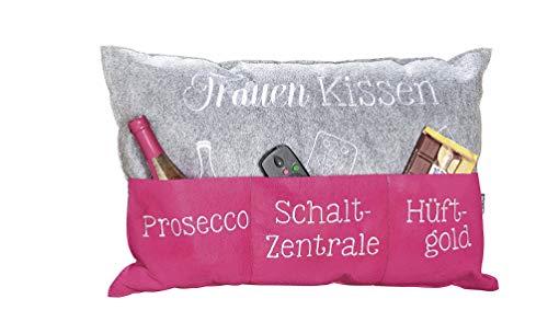 Kissen Frauen Aufbewahrungstaschen Prosecco Schaltzentrale Hüftgold grau pink Couch Sofa 40x60 cm