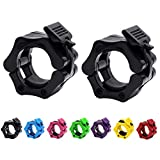 Strainho Olympic Weight Bar Clips - 2 inch Barbell Collars - Quick Release Olympic Barbell Clamp for Weightlifting, Olympic Lifts and Strength Training (Black)