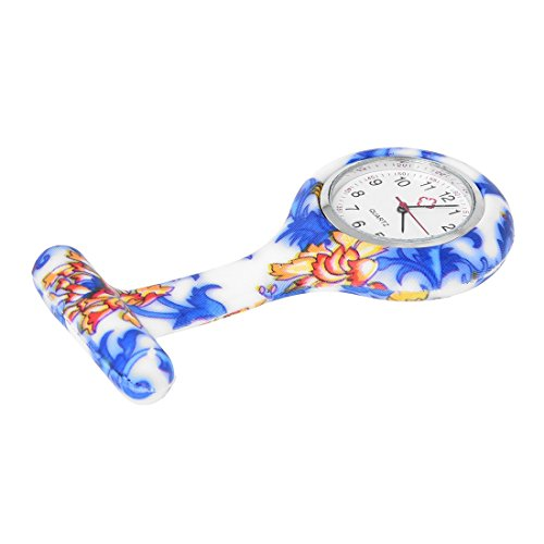 Gesh Blue White Flowers Pattern Silicone Nurses Brooch Tunic Fob Pocket Watch Dial