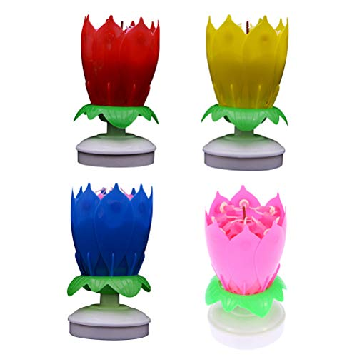 Uonlytech 4pcs Birthday Musical Candles Lotus Flower Candle Cake Topper for Birthday Party Decoration