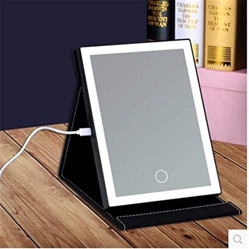 Espejo USB con pantalla táctil LED espejo de maquillaje plegable con espejo de princesa portátil con espejo de luz para maquillaje (color: negro, tamaño: grande)