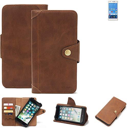 K-S-Trade® Handy-Hülle Für Gionee Elife S5.5 Schutz-Hülle Walletcase Bookstyle Tasche Handyhülle Schutz Case Handytasche Wallet Flipcase Cover PU Braun (1x)