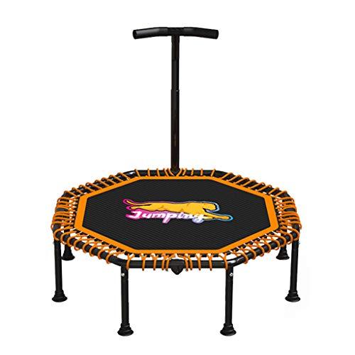 Orange Hexagon Jumping Fitness Trampolin mit Haltegriff und leise Gummiseilfederung Sprung für Kinder & Erwachsene in Zuhause Indoor Outdoor, Unterstützung bis zu 220 kg