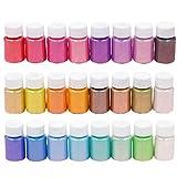 UNFAIR 24 Piezas/Set Pearly Polvo Epoxi, Escarcha Limo DIY Mano Hechos A, Pegamento Cristal De La Resina, Nail Crystal Art Mud