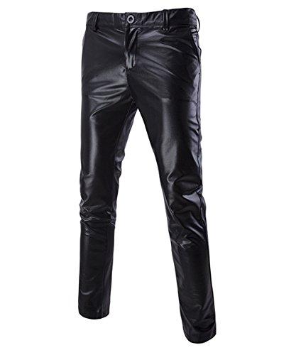 Sliktaa Pantalones Casuales para Hombre Cuero Metálico Brillante Oro Plata Golf