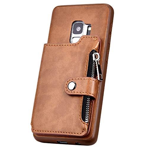 Surakey Kompatibel mit Samsung Galaxy S9 Hülle Leder Case Wallet Tasche PU Tasche Handy Schutzhülle Brieftasche mit Reißverschluss Kartenfächer Lederhülle Geldbörse Case Tasche, Braun