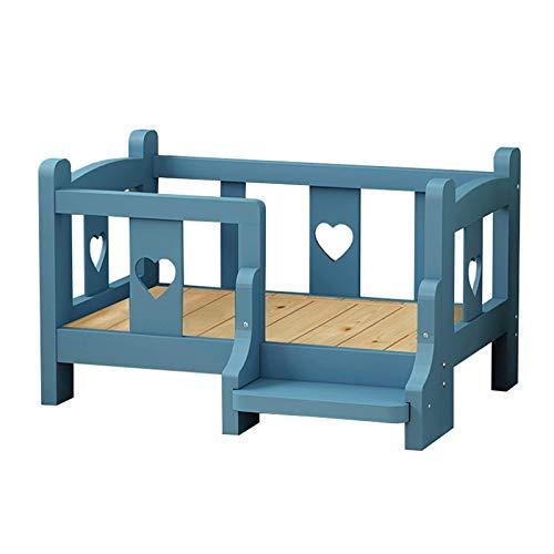 Luxus Holzhunde Schlafsofa für Mittlere Welpen und Katzen, Tragbares Erhöhtes Haustierbett mit Treppen, Summer Universal, Einfach zu Säubern (Color : Blue, Size : M-68×48×45cm)