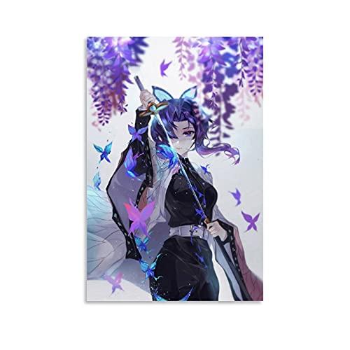 Demon Slayer Butterfly Girl Fashion Women Canvas Art - Lienzo enmarcado para pared (40 x 60 cm)