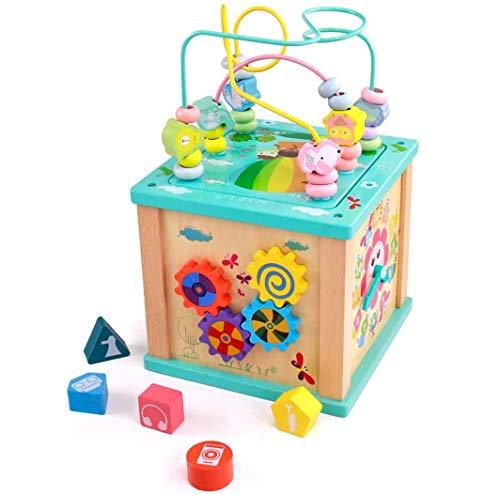 TDOYO Cube de Actividades Juguetes de Madera Juego Educativo 5 en 1 Cubos Madera con Pista Deslizante, Enseñanza de Reloj, Clasificador de Formas, Juegos de Laberintos y Engranajes Giratorios,Beige