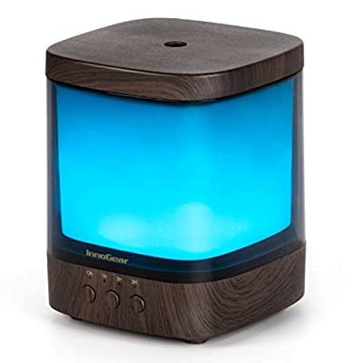 InnoGear Diffusers for Essential Oils, 300ml Oil Diffuser Aromatherapy Diffusers Aroma Ultrasonic Cool Mist Humidifier 4 Timers Color Changing Lights Auto-Off, Dark