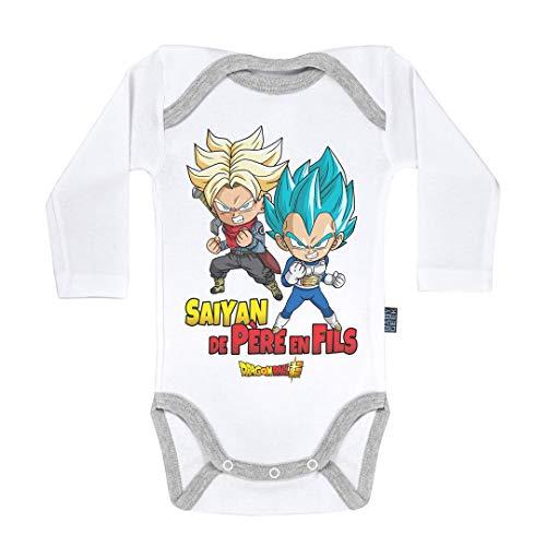 Baby Geek Saiyan de père en Fils - Trunks et Vegeta - Dragon Ball Super ™ - Licence Officielle - Body Bébé Manches Longues (6-12 Mois)