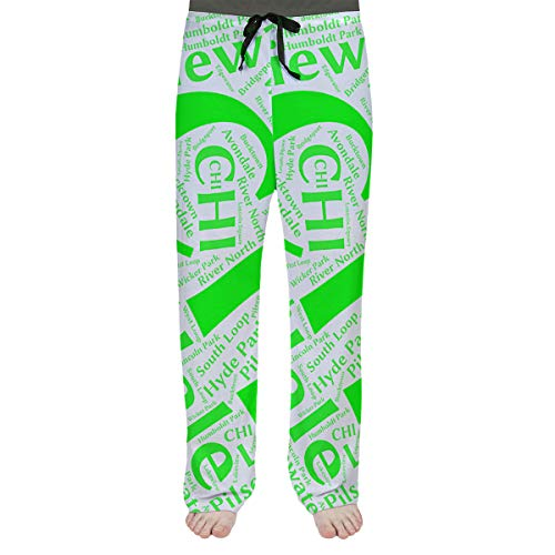 Best Deals! ArtVerse Rand Cites Chicago, Illinois Districts Word Art-Green Men's Pajama Pants