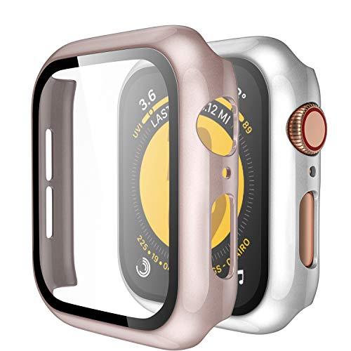 Upeak Compatible con Apple Watch 44mm Custodia con Vetro Temperato, 2 Pezzi Custodia Protettiva per Donna Uomo Compatibile con iWatch Series 4 5, Brillante Argento/Brillante Oro Rosa